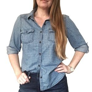 Sonoma Denim Button Down Shirt With Faded Print
